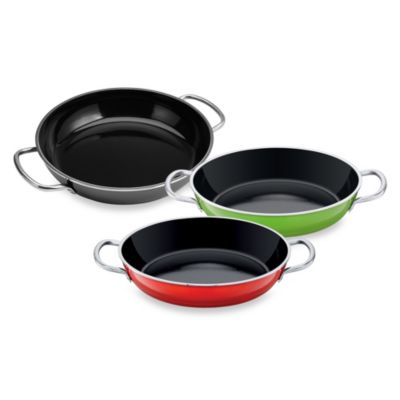 WMF Silit Ceramic 11-Inch Deep Fry and Serve Pans with Stainless Steel Handles