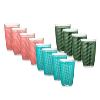 Kraftware™ Fishnet 22-Ounce Doublewall Drinkware in Blue (Set of 4)