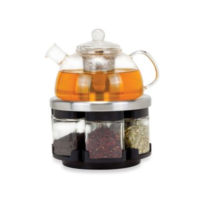 Orii™ Glass Tea Rack Set with 6 Tea Leaf Filled Canisters