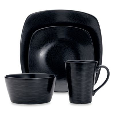4-Piece Black Square Dinnerware