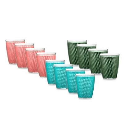 Kraftware™ Fishnet 14-Ounce Doublewall Drinkware in Teal (Set of 4)