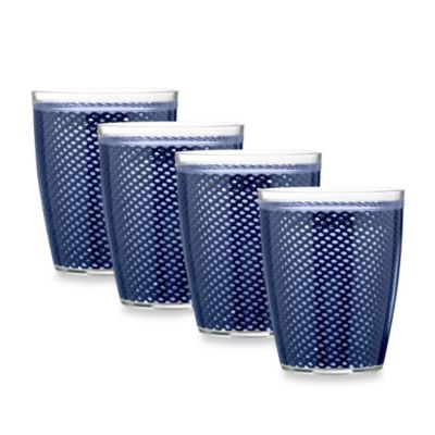 Kraftware™ Fishnet 14 Oz. Doublewall Drinkware in Navy (Set of 4)