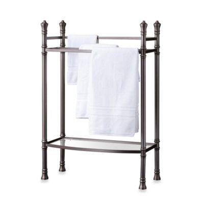 Monaco No Tools Towel Stand in Brushed Titanium