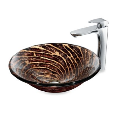 VIGO Caramel Tempered Glass Vessel Sink with Faucet