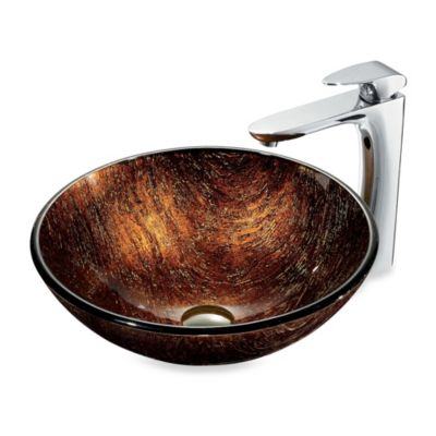 VIGO Kenyan Twilight Tempered Glass Vessel Sink in Brown/Gold with Faucet