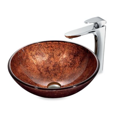 VIGO Kenyan Twilight Tempered Glass Vessel Sink in Copper Glow with Faucet