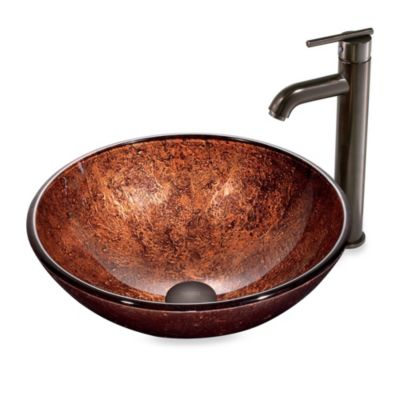 VIGO Mahogany Moon Tempered Glass Vessel Sink with Faucet
