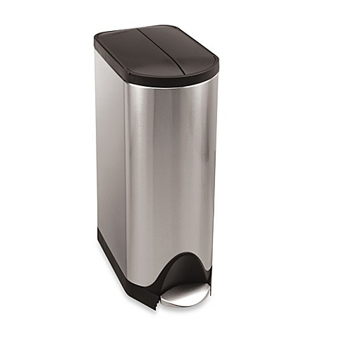 simplehuman® Brushed Stainless Steel Butterfly 30-Liter Step-On Trash Can