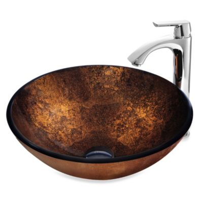 VIGO Russet Glass Vessel Sink with Faucet