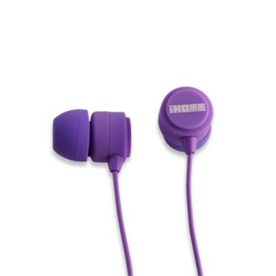 iHome® Rubberized Noise Isolating Earphones w/Pouch in Purple