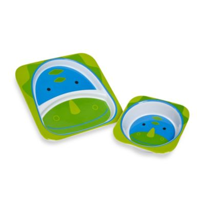 SKIP*HOP® Zoo Dinosaur Melamine Plate and Bowl Tableware Set