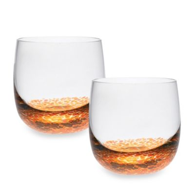 Denby Fire/Caramel Glassware Small 11-Ounce Tumbler (Set of 2)
