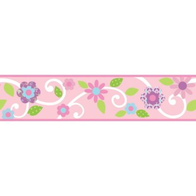 RoomMates Pink Floral Scroll Peel & Stick Wall Border
