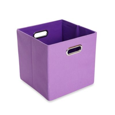 Modern Littles Color Pop Canvas Folding Storage Bin in Solid Purple