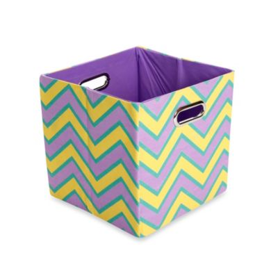 GiggleDots Sweets Canvas Folding Storage Bin in Zig Zag