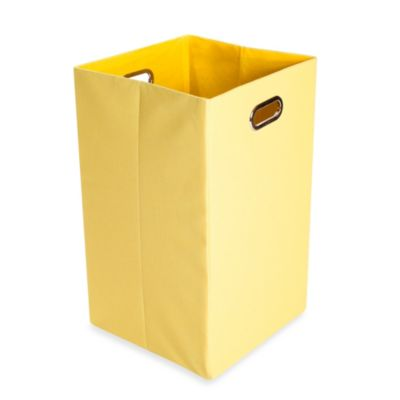 Modern Littles Sweets Canvas Folding Laundry Bin in Solid Yellow - from Giggles by Leveractive