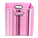 GiggleDots Rose Canvas Folding Storage Bin in Stripes