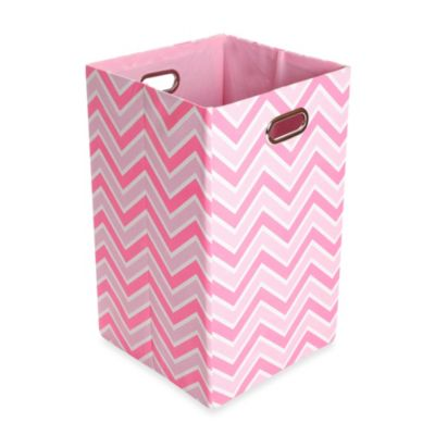 Hampers > Modern Littles Rose Canvas Folding Laundry Bin in Zig Zag