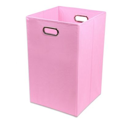GiggleDots Rose Canvas Folding Laundry Bin in Solid Pink