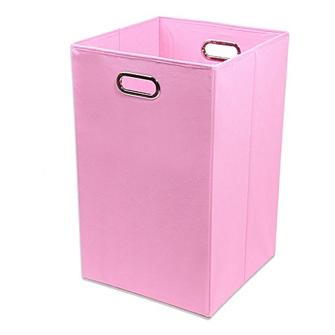 Buy modern littles rose canvas folding laundry bin in for Pink bathroom bin