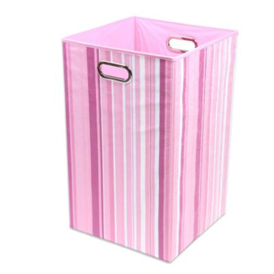 Modern Littles Rose Canvas Folding Laundry Bin in Stripes