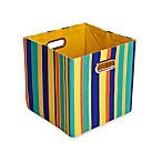 GiggleDots Rusty Canvas Folding Storage Bin in Stripes