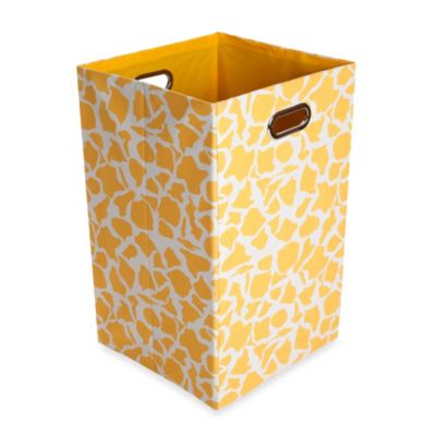 Modern Littles Rusty Canvas Folding Laundry Bin in Giraffe - from Giggles by Leveractive