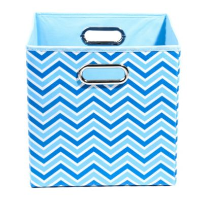 Modern Littles Sky Canvas Folding Storage Bin in Zig Zag