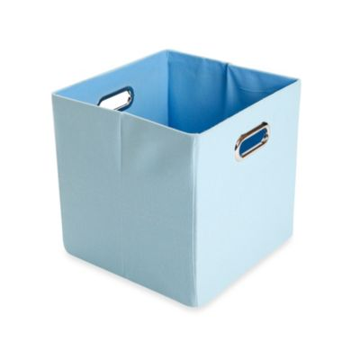 Modern Littles Sky Canvas Folding Storage Bin in Solid Baby Blue