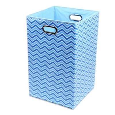 Hampers > Modern Littles Sky Canvas Folding Laundry Bin in Zig Zag