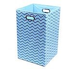 Modern Littles Sky Canvas Folding Laundry Bin in Zig Zag