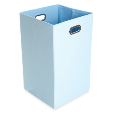 GiggleDots Sky Canvas Folding Laundry Bin in Solid Baby Blue