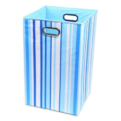 Modern Littles Sky Canvas Folding Folding Laundry Bin in Stripes