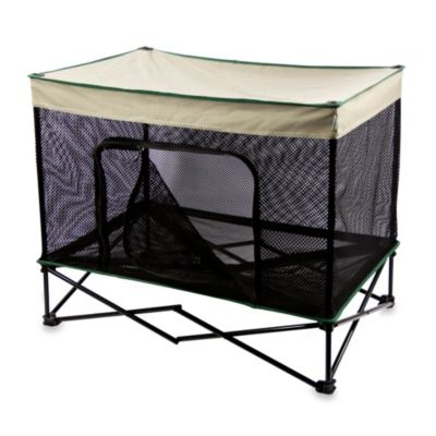 Quik Shade Medium Instant Pet Kennel with Mesh Walls and Elevated Mesh Bed in Tan