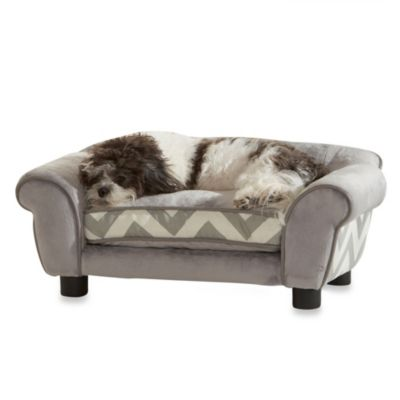 Enchanted Home Pet Ultra Plush Lotus Chevron Pet Bed in Grey