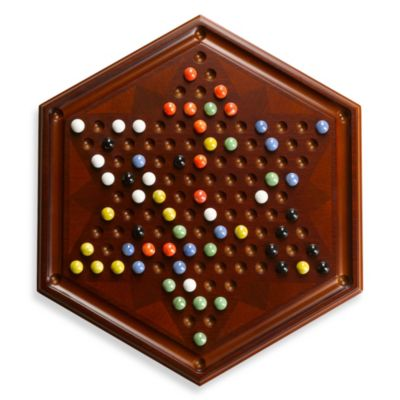 Bombay® Chinese Checkers Board with Marble Pieces in Antique Mahogany
