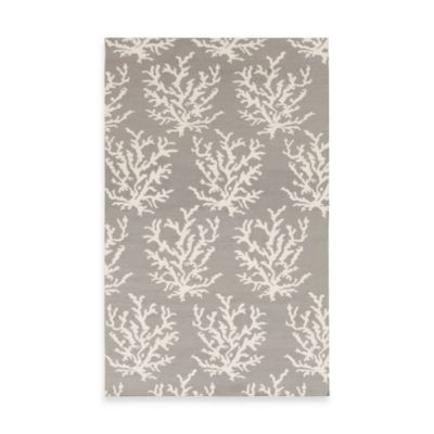 Aventura 3-Foot 3-Inch x 5-Foot 3-Inch Indoor Rug in Light Gray with White