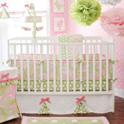 My Baby Sam Pixie Baby Crib Bumper in Pink/Green Paisley