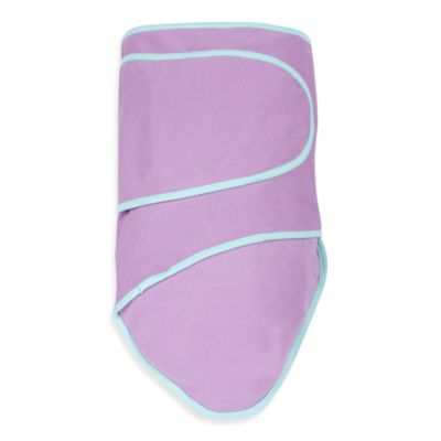 Miracle Blanket® Swaddle in Purple with Mint Trim