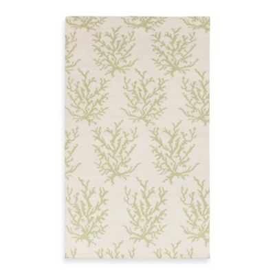Aventura Rug in White with Lettuce Leaf
