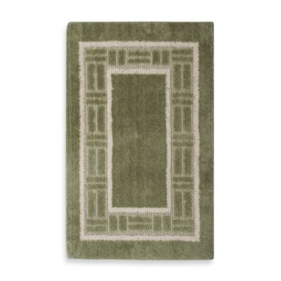 Basket Border Accent Rug in Green/Ivory