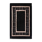 Basket Border Accent Rug in Black/Ivory