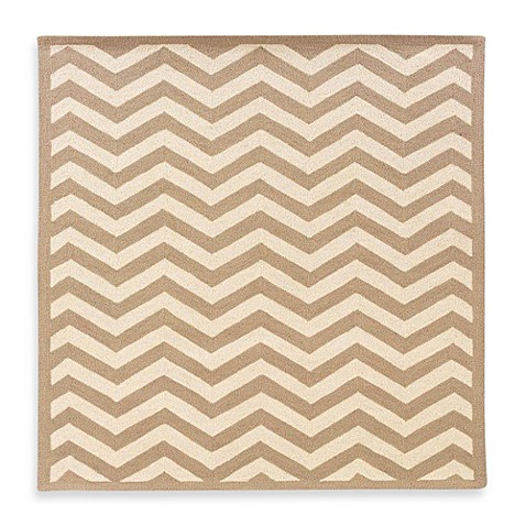 Linon Home Silhouette Collection 5-Foot x 7-Foot Chevron Rug in Beige/White