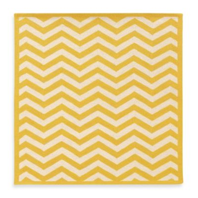 Linon Home Silhouette 2-Foot x 3-Foot Chevron Rug in Yellow/White
