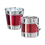 Red Hammered Ice Buckets