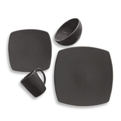 Kenneth Cole Reaction Home Solid Square 4-Piece Place Setting in Grey