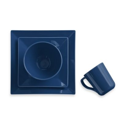 Real Simple® Square 4-Piece Place Setting in Marine Blue