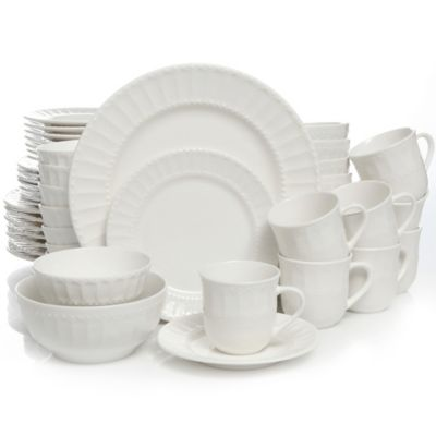Gibson Home Heritage Place 48-Piece Stoneware Dinnerware Set in White