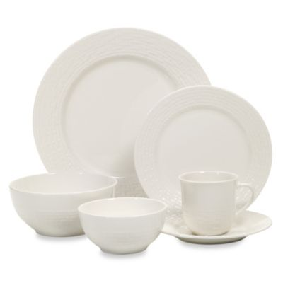 Gibson® Noble Weave 48-Piece Stoneware Dinnerware Set in White