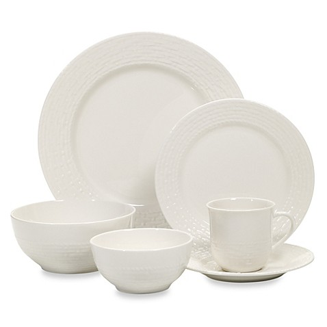 Gibson home noble weave 48 piece porcelain dinnerware set in white quot is